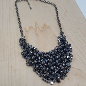 Gunmetal Beaded Bib Necklace